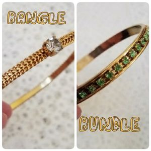 Jewelry - Two Rhinestone Bangles, Green and Gold